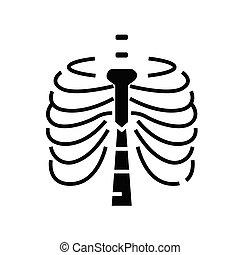 plat, illustration, sternum, structure, icône, noir, vecteur, os, symbole, glyph, concept, signe.