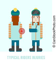 plat, illustration., style:, sick., arm., cassé, vecteur, snowboarders, injuries., girl, typique, blessures, snowboarder