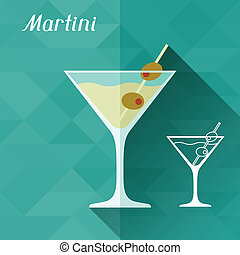 plat, illustration, style., verre, conception, martini
