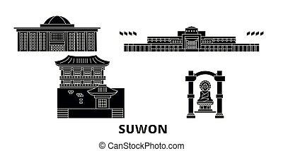 plat, illustration, suwon, voyage, landmarks., symbole, horizon, vecteur, noir, vues, corée, ville, sud, set.