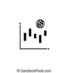 plat, illustration., technisch, concept., analyse, symbool, meldingsbord, vector, black , pictogram
