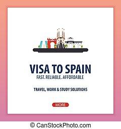 plat, illustration., travel., vector, spain., document, visum