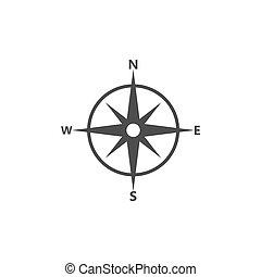 plat, illustration, vecteur, compas, icon., navigation, design.
