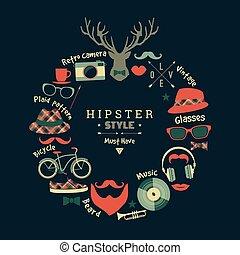 plat, illustration, vecteur, conception, hipster, style.