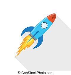 plat, illustration., vecteur, icône, vaisseau spatial,...