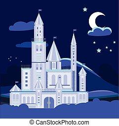 plat, illustration, vecteur, nuit, château, paysage