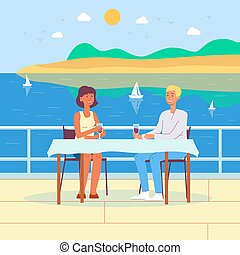 plat, illustration., vecteur, vacances, couple, été, romantique, fond, mer