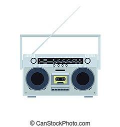 plat, illustration., vendange, magnétique, player., cassette...