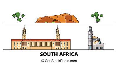 plat, illustration., ville, repères, afrique, célèbre, vecteur, vues, ligne, horizon, voyage, sud, design.