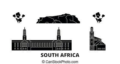 plat, illustration, voyage, afrique, landmarks., symbole, horizon, vecteur, noir, vues, ville, sud, set.