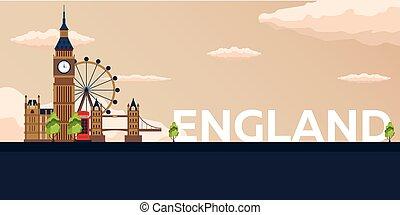 plat, illustration., voyage, england., vecteur, bannière