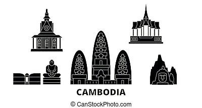 plat, illustration, voyage, landmarks., cambodge, symbole, horizon, vecteur, noir, vues, ville, set.