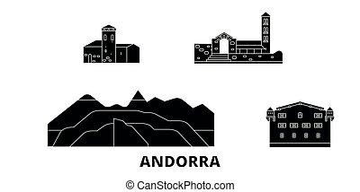 plat, illustration, voyage, landmarks., symbole, andorre, horizon, vecteur, noir, vues, ville, set.