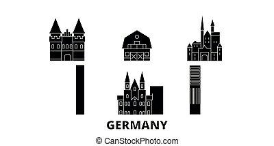 plat, illustration, voyage, landmarks., symbole, horizon, vecteur, noir, vues, allemagne, ville, set.