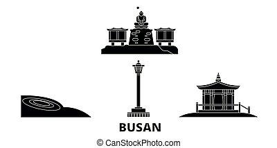 plat, illustration, voyage, landmarks., symbole, horizon, vecteur, noir, vues, busan, corée, ville, sud, set.