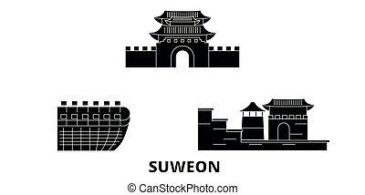 plat, illustration, voyage, landmarks., symbole, horizon, vecteur, noir, vues, corée, suweon, ville, sud, set.