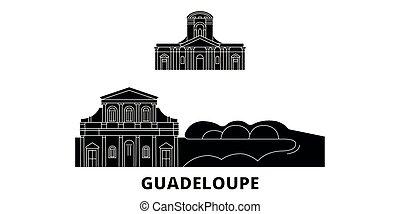 plat, illustration, voyage, landmarks., symbole, horizon, vecteur, noir, vues, guadeloupe, ville, set.