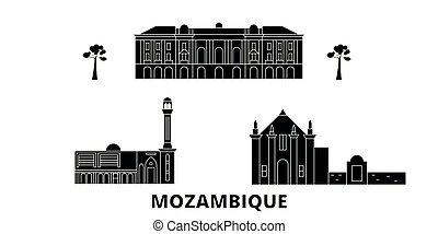plat, illustration, voyage, landmarks., symbole, horizon, vecteur, noir, vues, mozambique, ville, set.
