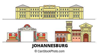plat, illustration., vues, ville, repères, célèbre, johannesburg, vecteur, afrique, ligne, horizon, voyage, sud, design.
