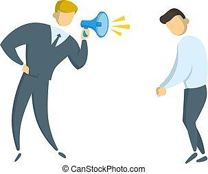plat, illustration., work., arrière-plan., fâché, isolé, intimider, cris, vecteur, homme affaires, manager., blanc, porte voix