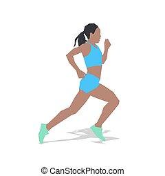 plat, illustration., zomer, jonge, rennende , vrouw, sport., ontwerp, actief, meisje, uitvoeren