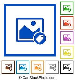 plat, image, encadré, étiquetage, icônes