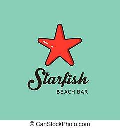 plat, image, starfish., rouges, logo