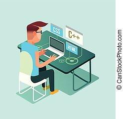 plat, indépendant, concept, informatique, ouvrier, ordinateur portable, travail, caractère, illustration, programer, travailleur indépendant, métier, graphisme, maison, pc., dessin animé, homme