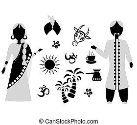 plat, Inde, conception, noir