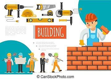 plat, industrie, bouwsector, samenstelling