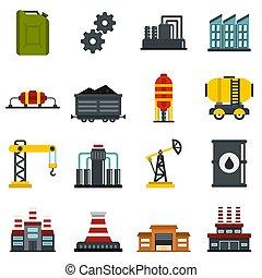 plat, industrie, ensemble, icônes