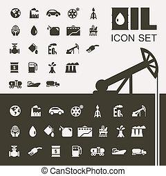 plat, industrie, huile, ensemble, icône