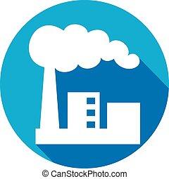 plat, industriebedrijven, fabriek, pictogram