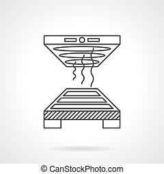 plat, industriebedrijven, vector, oven, lijn, icon.