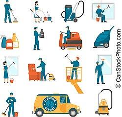 plat, industriel, service, icônes, ensemble, nettoyage