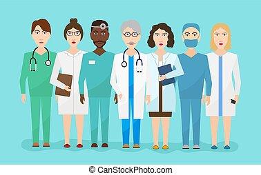 plat, infirmières, hôpital, équipe, illustration, vecteur, médecins, chirurgien, personnel médical