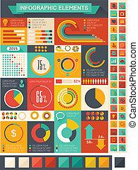 plat, infographic, éléments