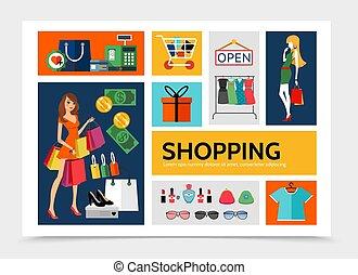 plat, infographic, achats, gabarit