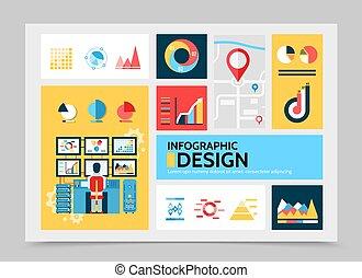 plat, infographic, business, gabarit