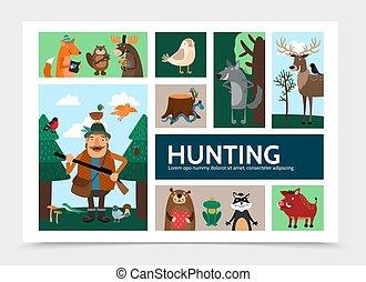 plat, infographic, chasse, gabarit