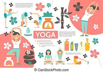 plat, infographic, yoga, gabarit