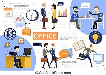 plat, infographic, zakenkantoor, mal