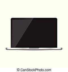 plat, informatique, ordinateur portable, illustration, arrière-plan., vecteur, noir, écran, blanc, icon.