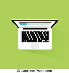plat, informatique, ordinateur portable, vecteur, conception, icône