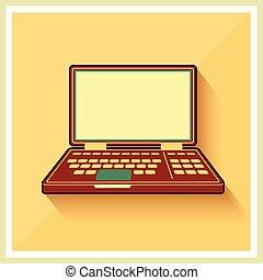 plat, informatique, personnel, vendange, ordinateur portable, cahier, vecteur, icône