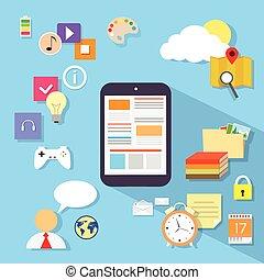 plat, informatique, tablette, application, vecteur, conception, icône