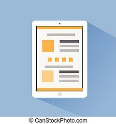 plat, informatique, tablette, icônes, vecteur, conception, ombre