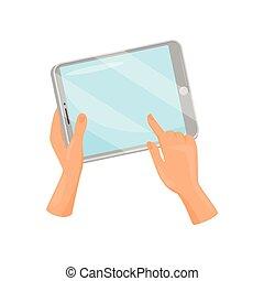 plat, informatique, tenue, tablette, écran, moderne, gadget., main, finger., toucher, vecteur, conception, humain