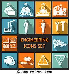 plat, ingénierie, ensemble, icônes