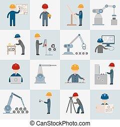 plat, ingénierie, icônes